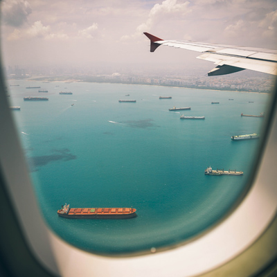 view from a private jet charter air freight window