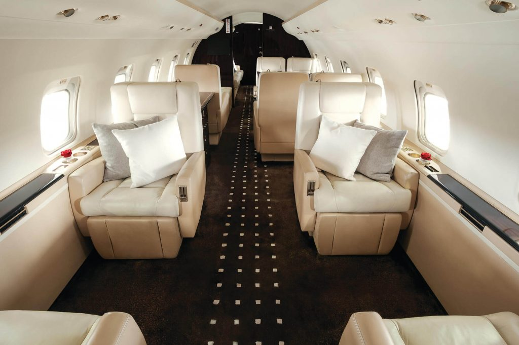 interior of a bombardier challenger 850 aircraft