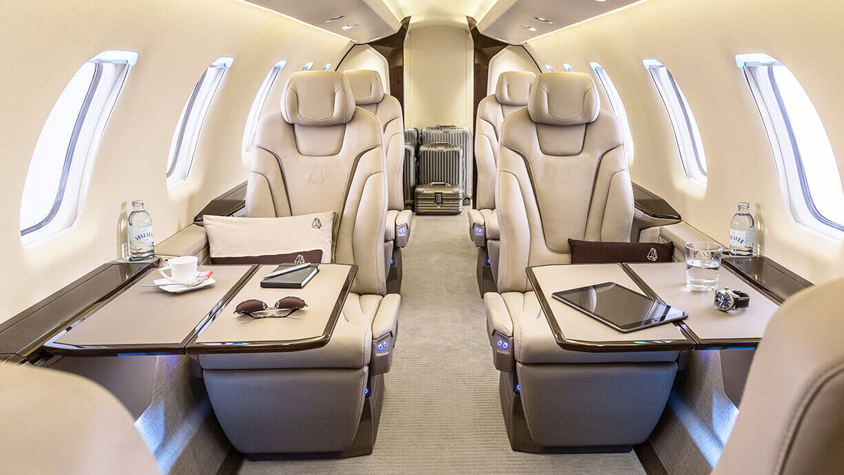 interior of a pilatus pc 24 aircraft