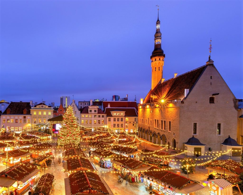 Tallinn Christmas Market from private jet charter