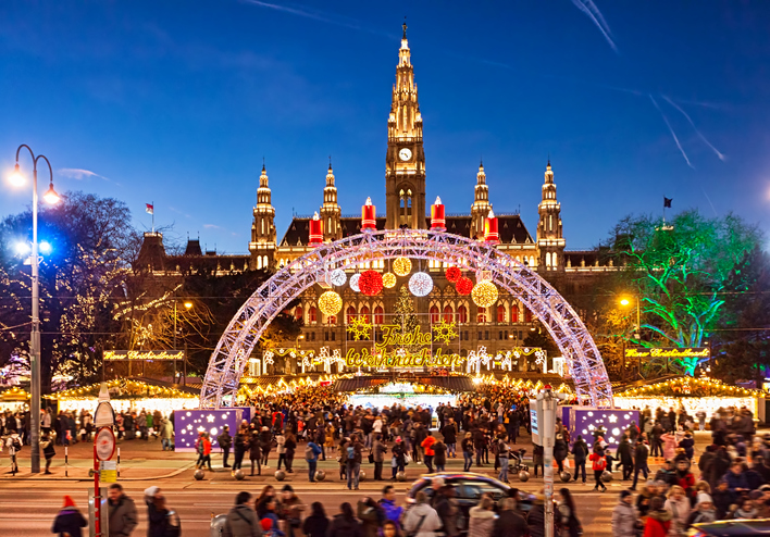 Christmas market on Rathausplatz in Vienna.