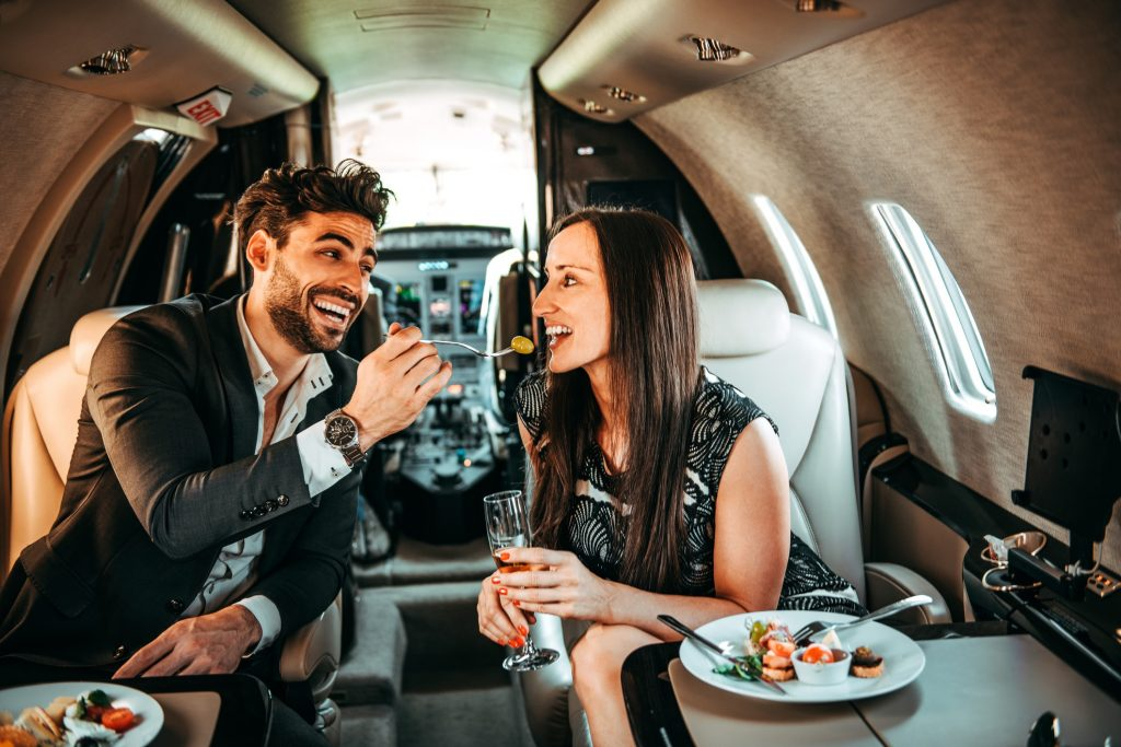 food on a private jet