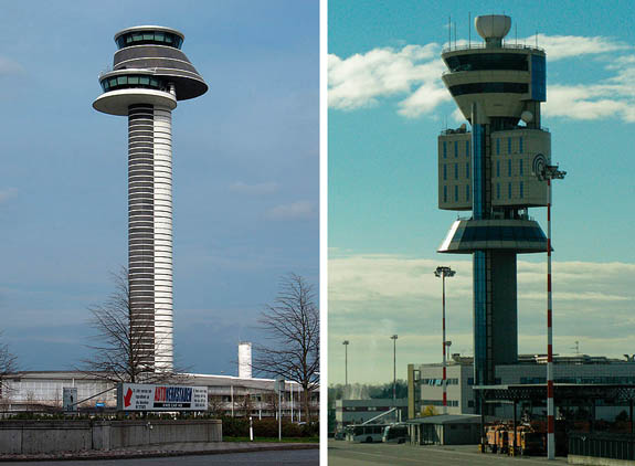 Stockholm International Airport and Milan Malpensa Airport towers