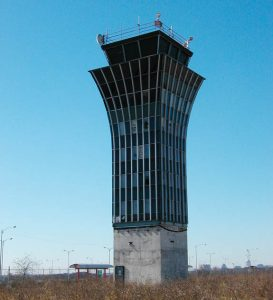 Abandoned tower at the old Robert Mueller Airport in Austin, Texas