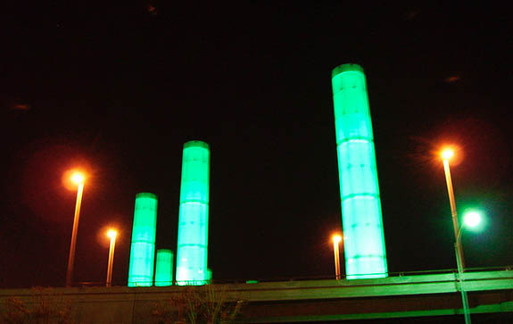 Groovy Color-Changing Towers at Los Angeles Airport Gateway