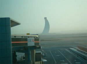 Abu Dhabi Airport Control Tower, Looming in the Fog