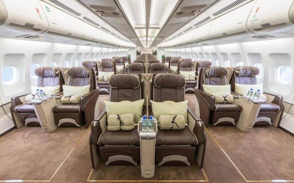 interior of a private jet for groups